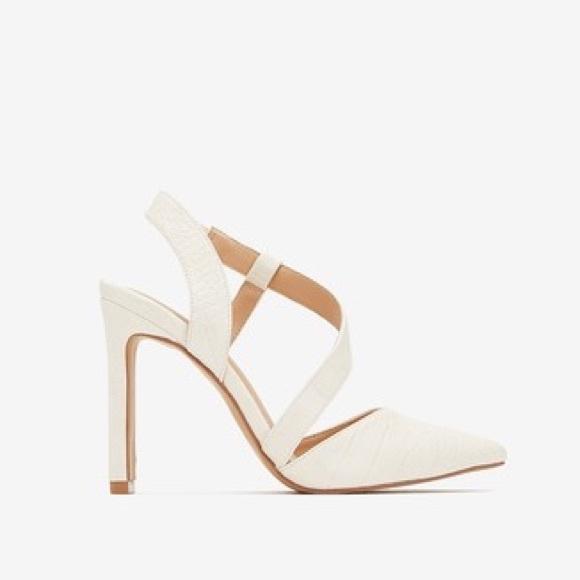 White Asymmetrical Strappy Closed Toe
